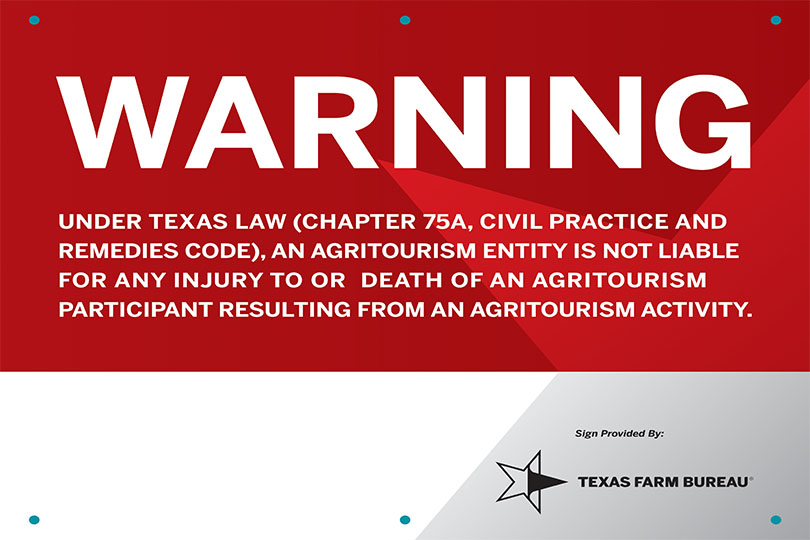 Agritourism liability sign